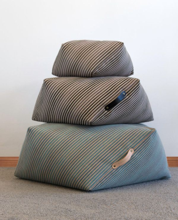 Geometric Poufs and Cushions by Kathryn Leah Payne