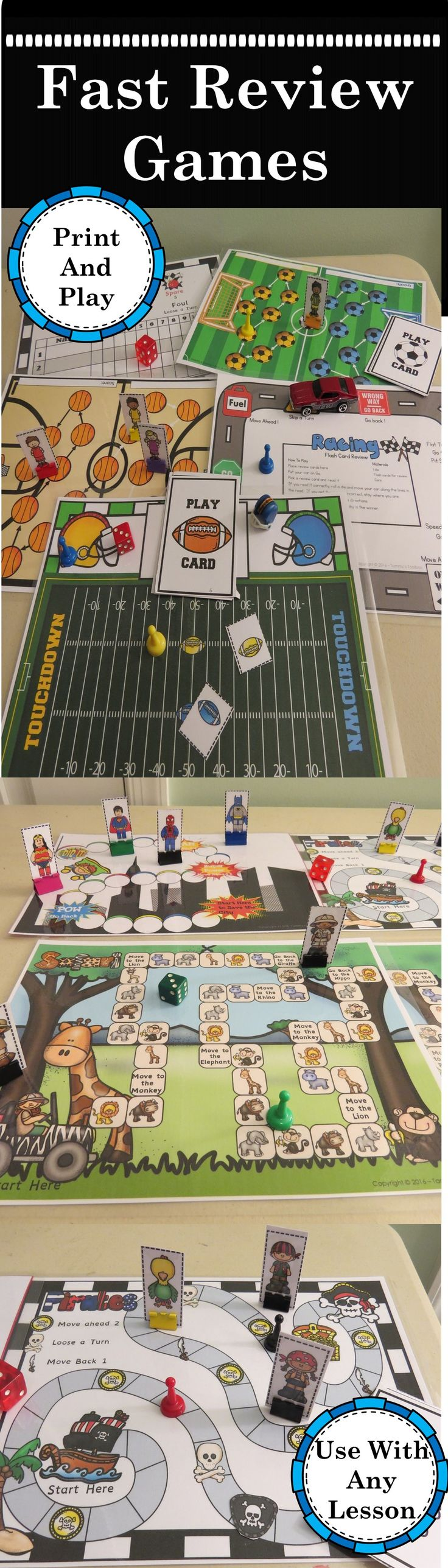 Fast and Fabulous Flash Card Review Games make reviewing any subject exciting. These print and play games can be used with any set of flash or word cards. They work great to practice sight words, vocabulary, math facts, and any subject area. Perfect for special ed, ELL, home school, and homework support. 10 different themes available. Soccer, Baseball, Football, Basketball, Bowling, Pirates, Safari, Super Heroes, Fall Fun, Racing. www.teacherspayteachers.com/store/tammys-toolbox-4544