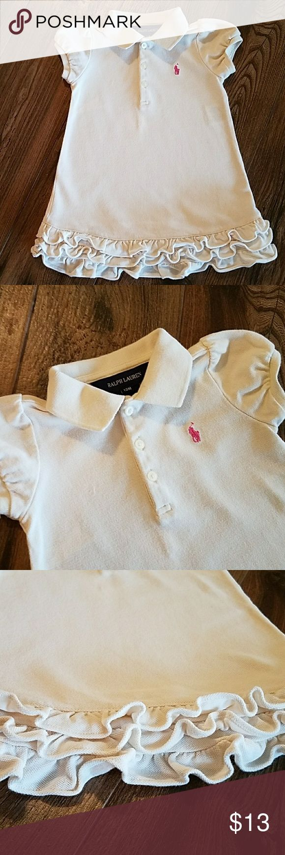 Ralph Lauren dress Signature embroidered pink pony at the left chest,ribbed polo collar, three button placket, puffed short sleeves with ribbed armbands, three tiered ruffle hem and comes with matching bloomer. Ralph Lauren Dresses Casual