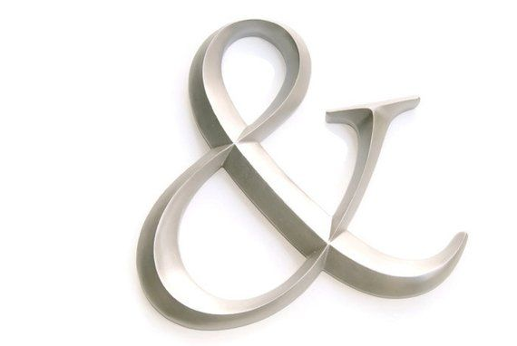 Silver Ampersand Sign Large Wall Ampersand Wedding Decor