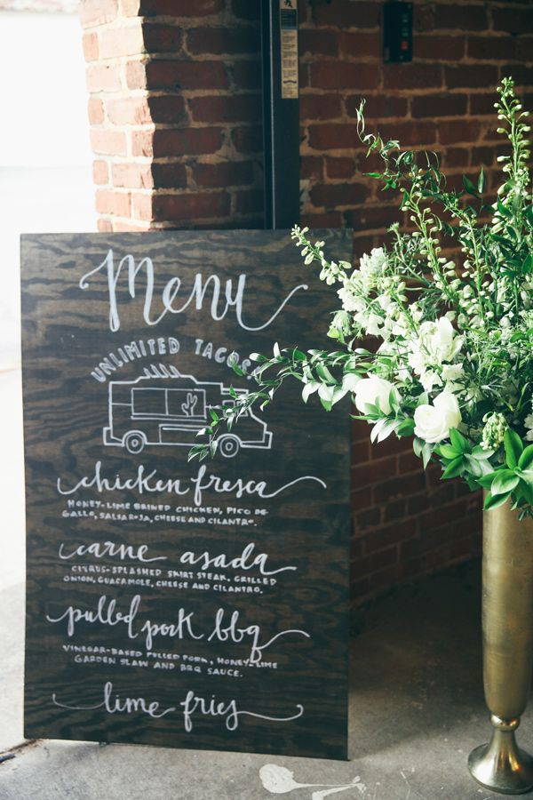 wedding menu sign, photo by Ashley Kickliter http://ruffledblog.com/alabama-railyard-wedding #weddingsign
