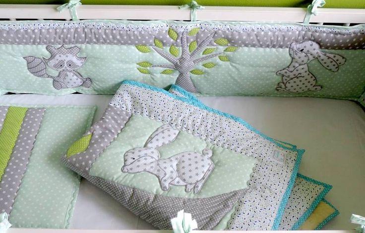 Beautiful handmade mint-grey nursery bedding set for your precious little baby. Order here:  https://www.etsy.com/listing/482168949/woodland-nursery-bedding-woodland-crib?ref=shop_home_active_40