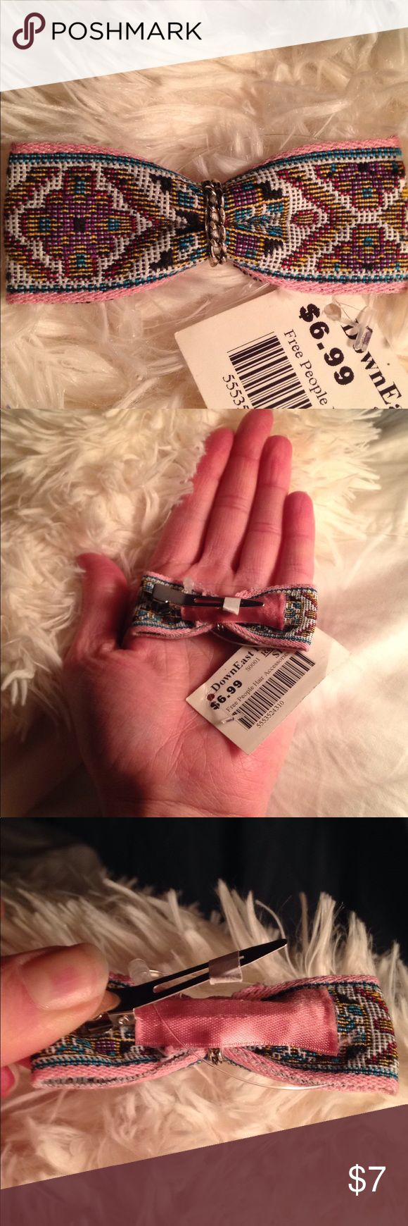 Free People Embroidered Bow Pin Curl  Clip + Chain 45mm single prong alligator clip Colors: pink, gold, berry, red, turquoise, black and white Retail: $14.99 Free People Accessories Hair Accessories