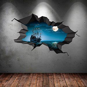 PIRATE SHIP SEA CAVE PORTHOLE MOON CRACKED 3D WALL ART STICKER BOYS CHILD'S DECAL MURAL NEW 1