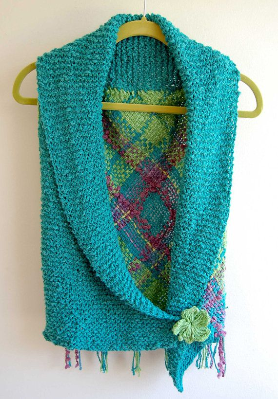 Turquoise cotton bolero with flower brooch by Ullvuna on Etsy, $90.00 knitted front