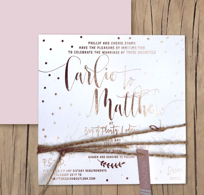 Rose gold foil wedding invitation by Lilykiss. Pretty dusk hues teamed with modern calligraphy fonts always a winner!