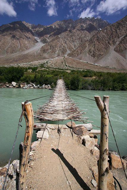 Suspended bridge in Pamir Mountains, Tajikistan.