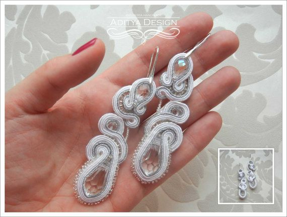 SULAGNA unique, original, very delicate, white, silver handmade soutache wedding, bridal earrings