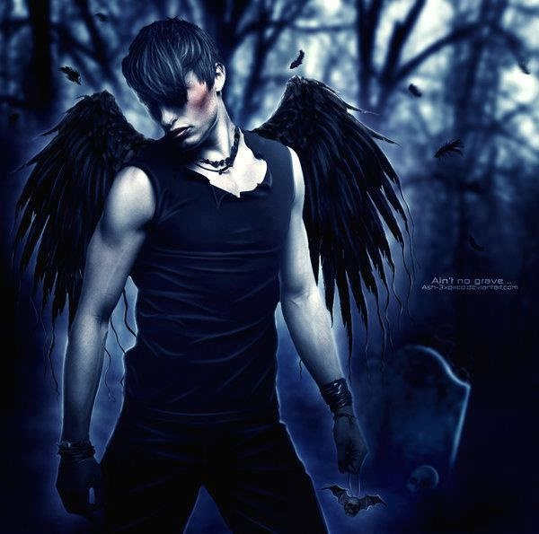 male angel tattoo idea