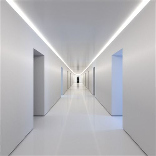 Minimalist Corridor White Interior Spaces Pinterest