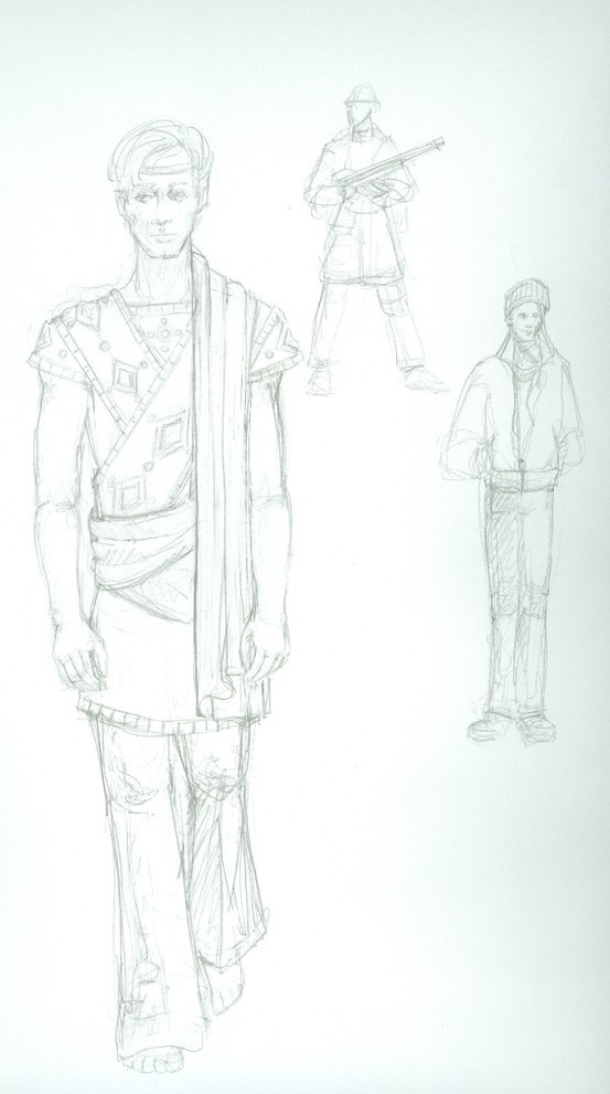 "We had a chance to catch up with the costume designer for Mad Forest, which opens next Tuesday. This  is a design sketch is for the ""Soldier/Student"" character. ""Caryl Churchill's work in Mad Forest is not only politically significant, but has some wonderful unique challenges visually.   ...You have an angel, a vampire, a dog, two ghosts, a Romanian Orthodox Priest, two weddings, and the '89 December Revolution."" Pretty fun stuff, Sally Lynn Askins #MadForest"