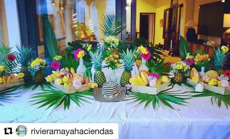 CBA141 wedding Riviera Maya tropical decoración for buffet/ decoración tropical para buffet