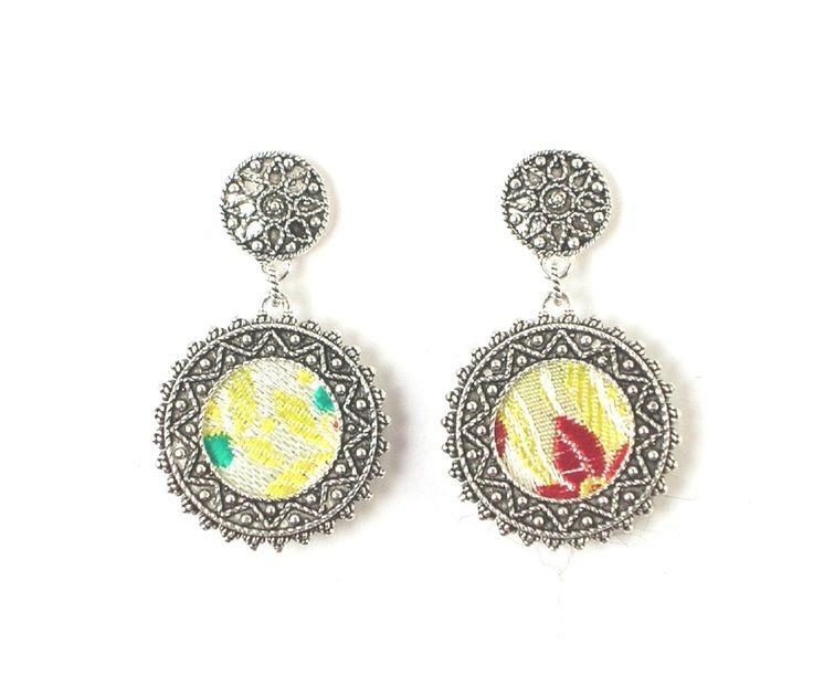 Orecchini pendenti in argento e tessuto broccato, linea Telarzu