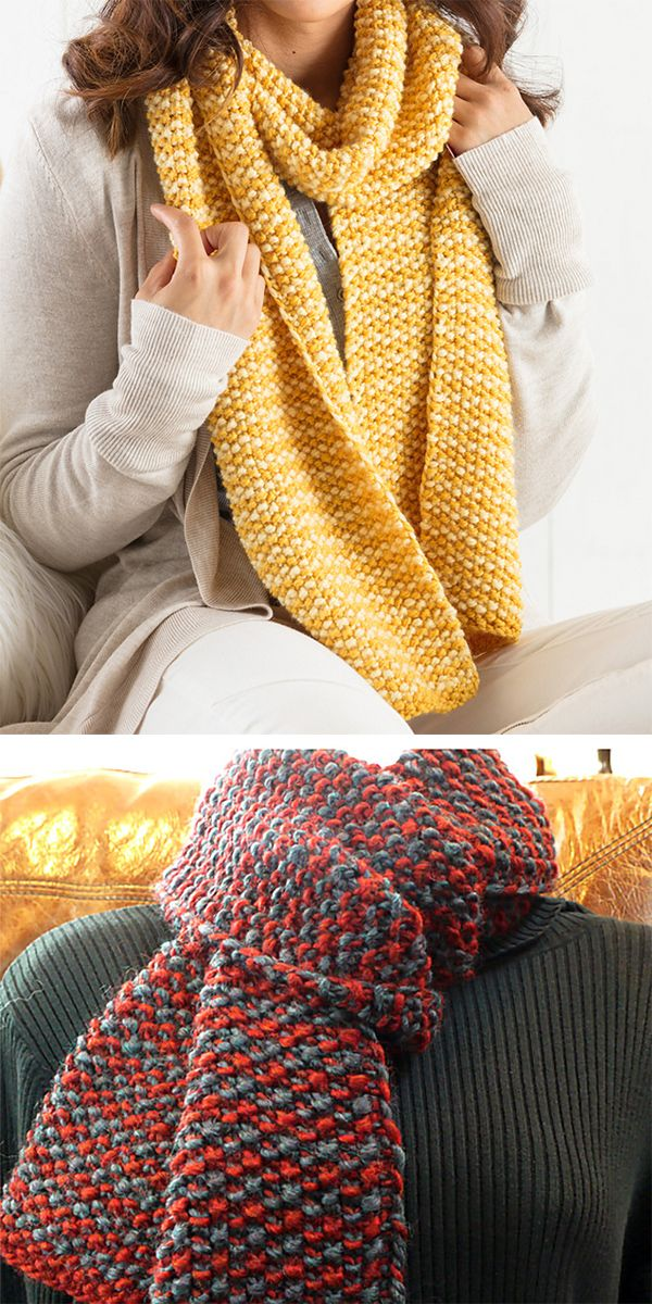 Easy Two Color One Row Anyone Scarf Knittng Knitting Patterns