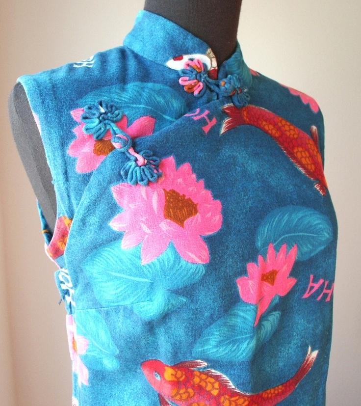 Vintage 60 39 s hawaiian maxi dress cheongsam or suzy wong for Koi fish dress