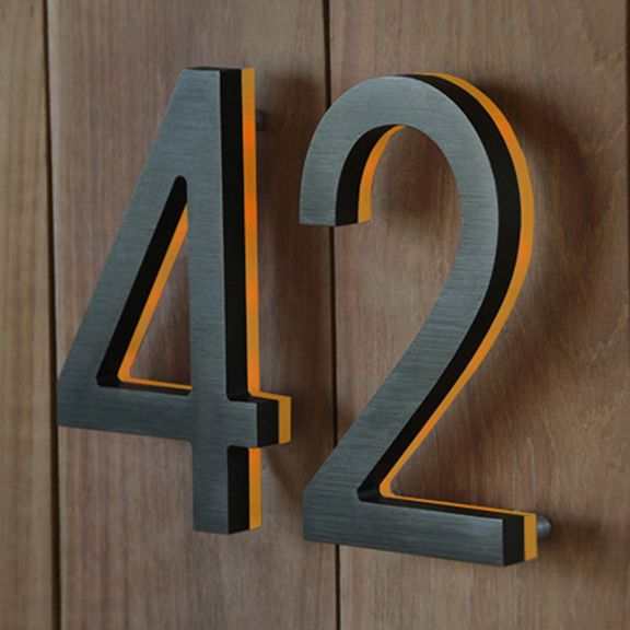 Luxello Bronze House Number With Amber Led 8 Bronze House Modern House Numbers Sign Modern House Number