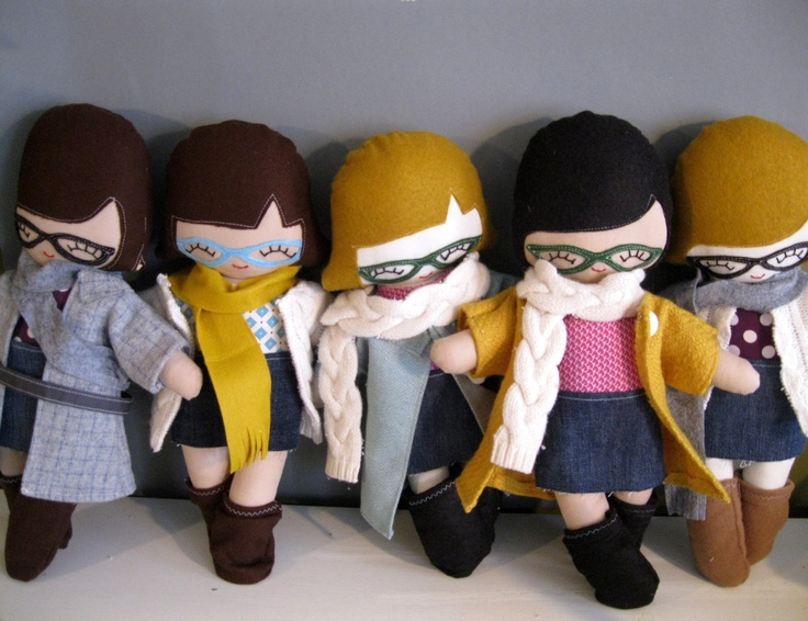Plush Rag Doll, Hipster Girl Cloth Doll Plushie with Tattoo and Glasses.