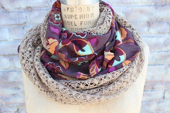 $16 Cute infinity   chiffon scarf  12 inch wide  56 inch by aCutee