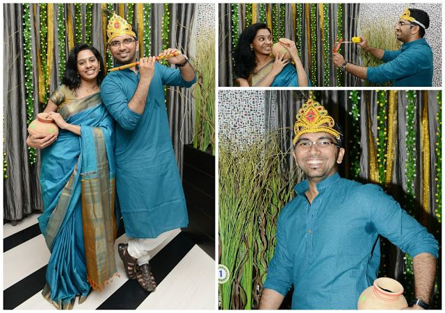 Bringing on the 30s: Little Krishna Themed First Birthday Party Photo booth fun. Playing Radha Krishna