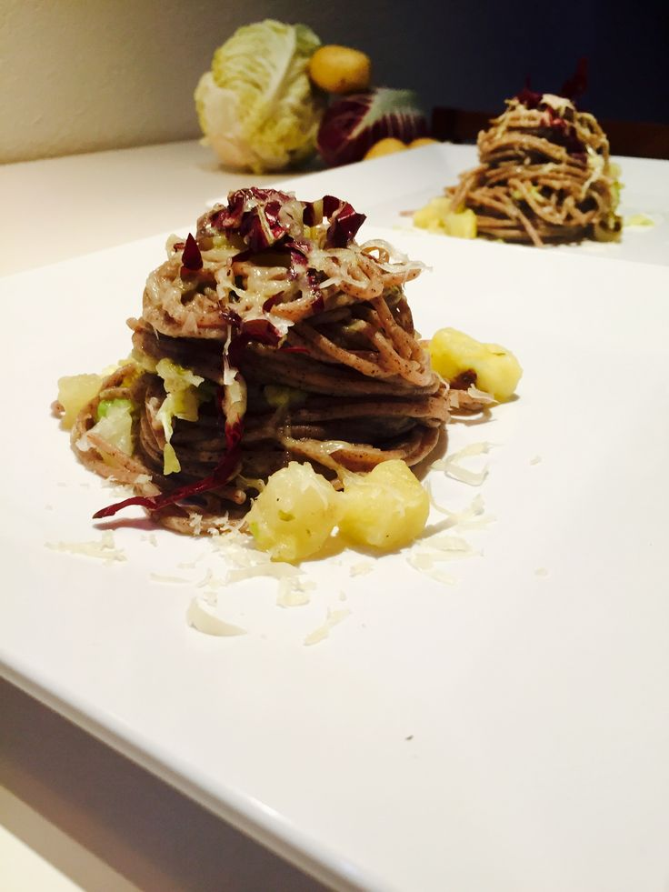 Fidelin !  Spaghetti di grano saraceno con patate radicchio verza e bitto
