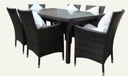 SYDNEY 6 Seater Wicker Dining Setting Dark Brown UV Treated Weatherproof