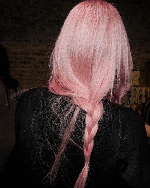 Long Light Pink Hair In Loose Braid Coloured Hair