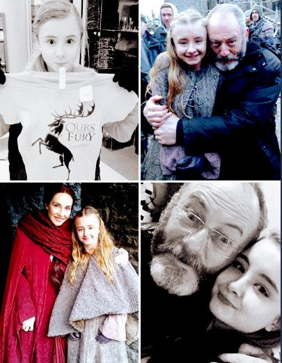Kerry Ingram (Shireen Baratheon) with Davos and Melisandre.