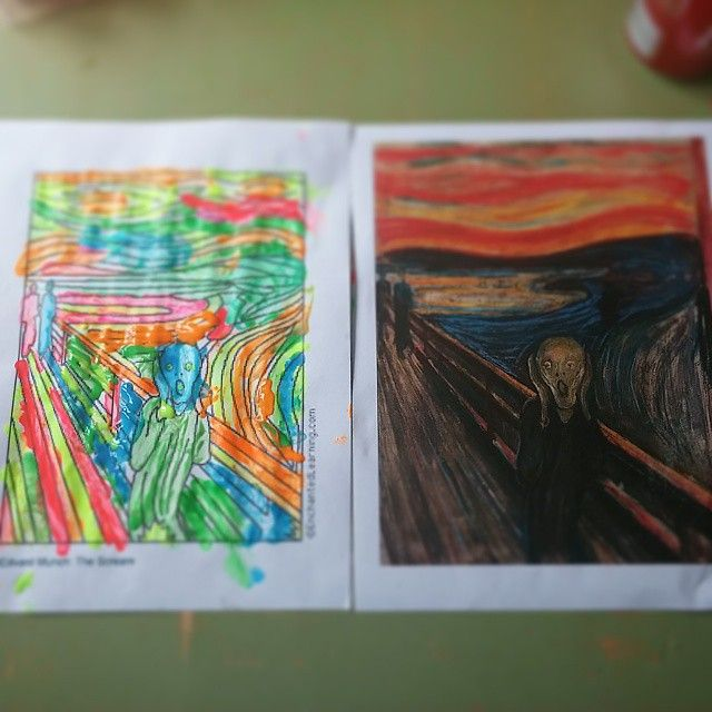 messy house, happy life: Easy art appreciation  #art #easy #thescream #munch #edvardmunch #wow #kidapproved #activities #summer #bored #bright #neon #outline #famouspaintings #summeractivities #rainydayactivities #boredombuster #boys