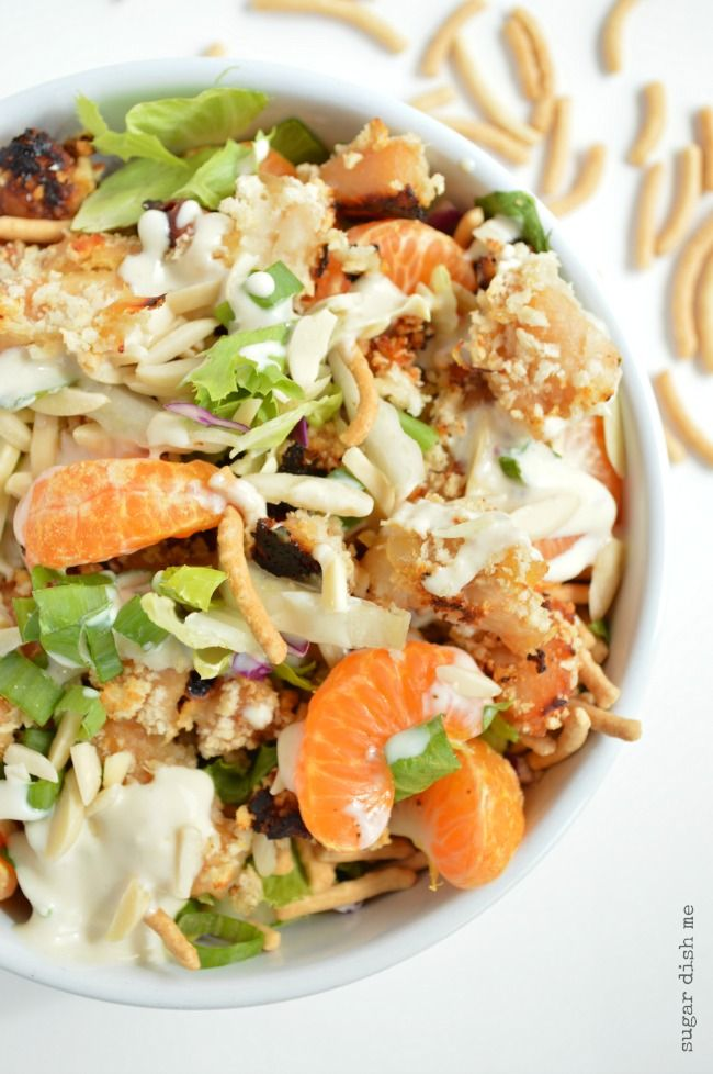 Lightened Up Asian Chicken Crunch Salad with Creamy Dressing This is a 30 minute meal that never disappoints!