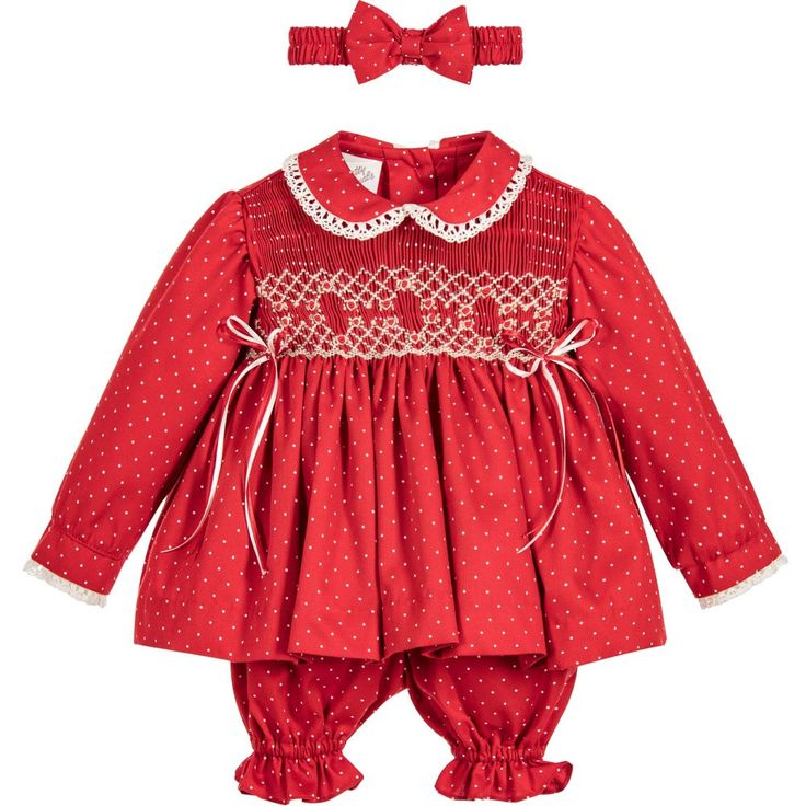 Pretty Originals Girls Red Smocked Dress Set at Childrensalon.com