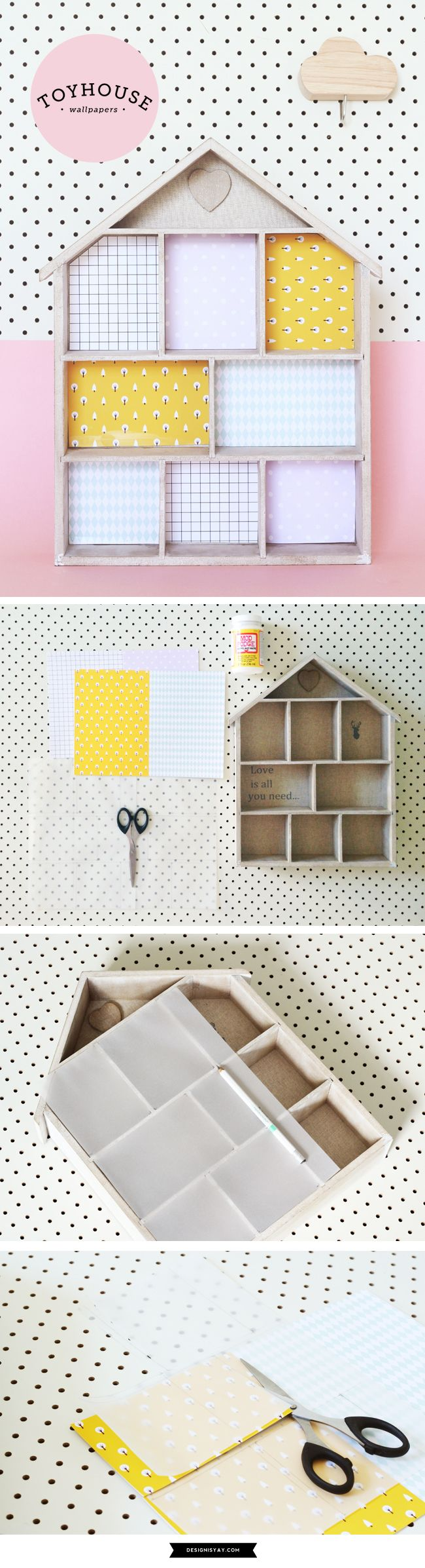 Kmart Toy House tweak: Wallpaper the toy house (with free pattern printable) | DESIGN IS YAY