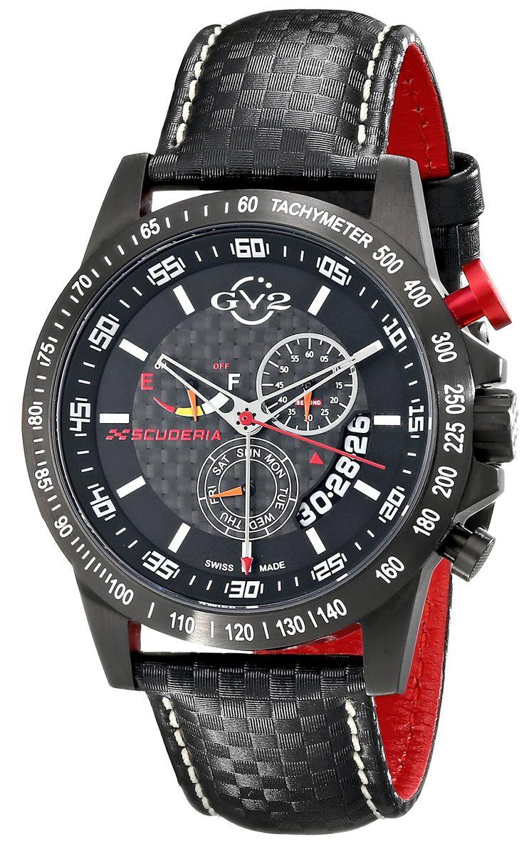 GV2 by Gevril Men's 9900 Scuderia Analog Display Swiss Quartz Black Watch