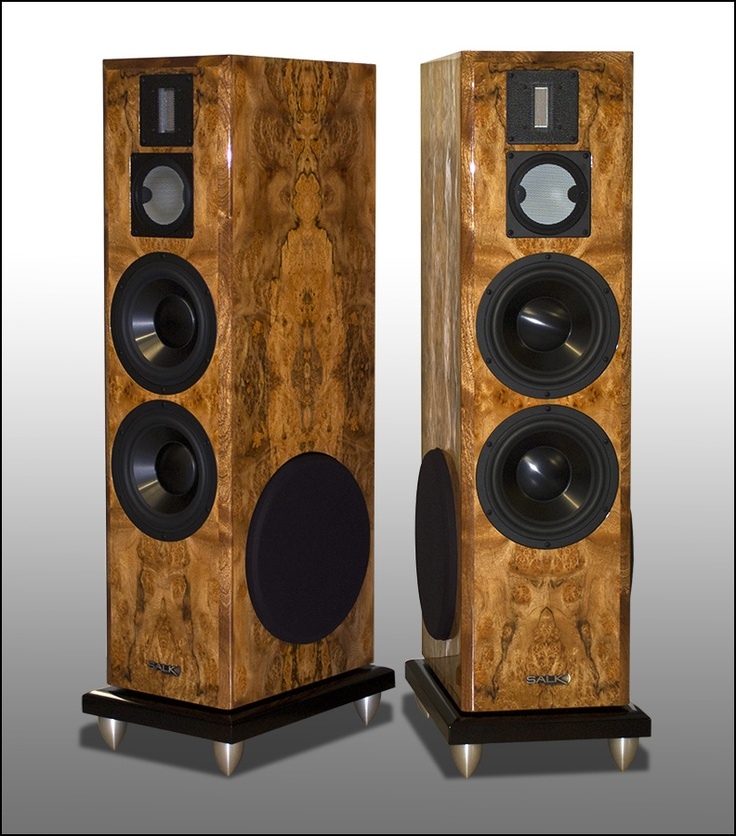 SoundScape 8's in pepperwood burl. By Salk Signature Sound.