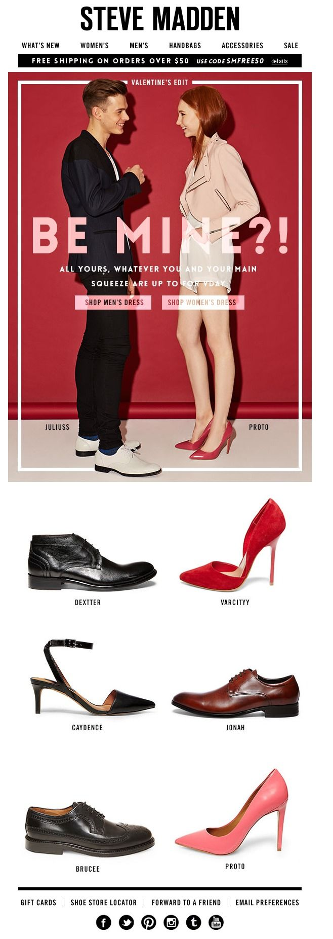 We love this Valentine's Day email from shoe retailer Steve Madden. Find more V-Day email design inspiration at the Email Design Workshop here: http://emaildesign.beefree.io/2016/02/inspiration-for-valentines-day-emails/