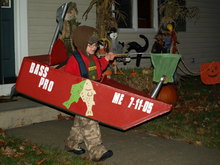 Fisherman in a bass boat halloween costume. Complete with front lights and a fishing net as candy basket.