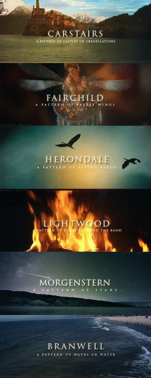 Shadowhunter family names. I wish I was a Herondale even though they are so problematic.