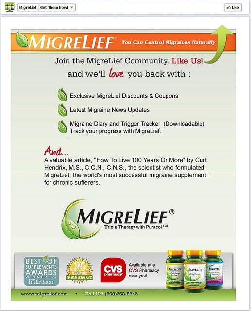 """MigreLief """"Before"""" Facebook Reveal App Page  by Custom Page Designs"""