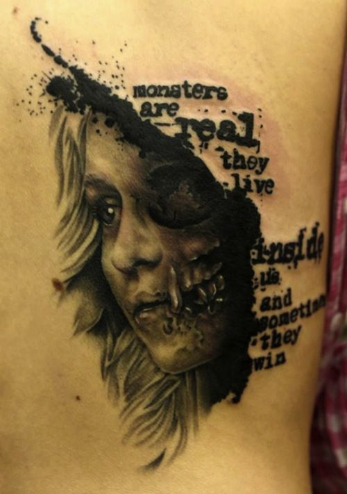 Great tattoo done to show off one of King's most memorable quotes. #InkedMagazine #quote #tattoo #monsters #tattoos #inked #ink #blackandgrey
