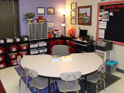 Awesome set up for small group area. Shelving behind gives the teacher access to everything for instruction.
