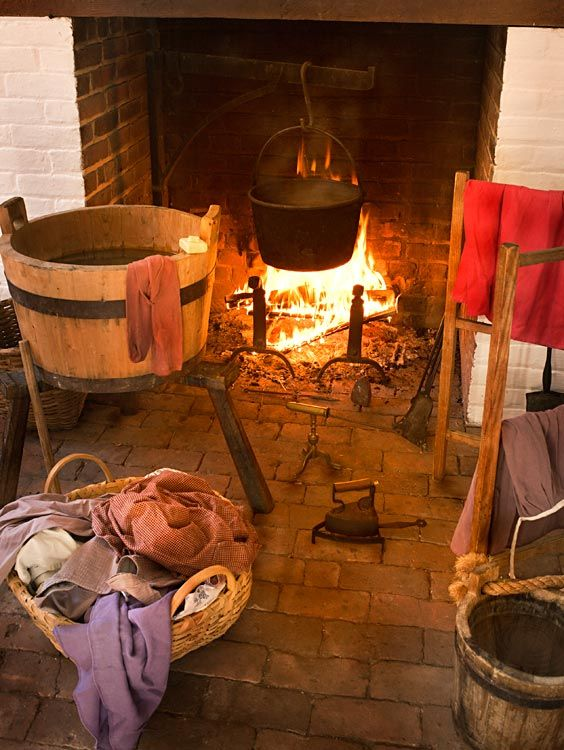 A freestanding laundry building, with water bucket, tub of hot water, drying rack, and iron, was an eighteenth-century development.