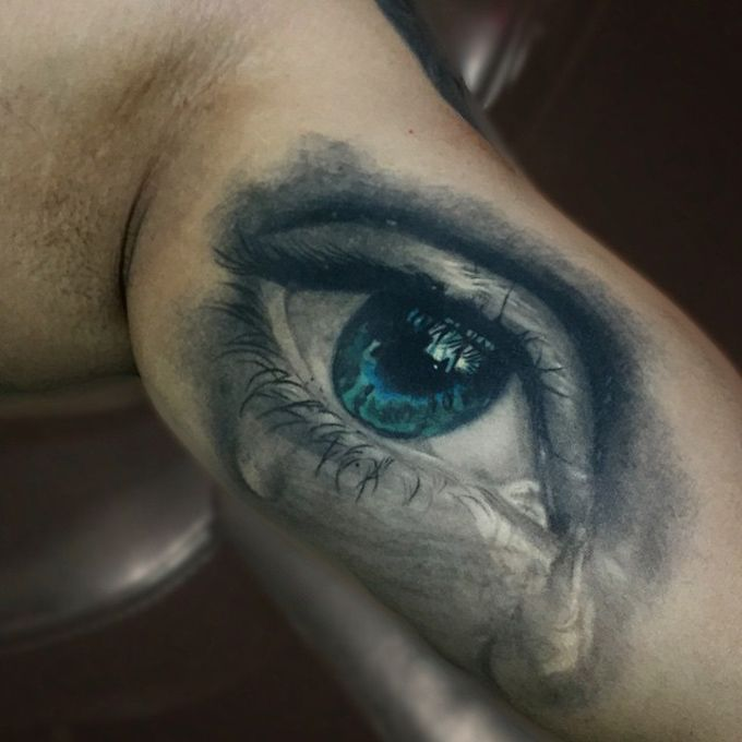 Realistic Eye Crying Tattoo - http://giantfreakintattoo.com/realistic-eye-crying-tattoo/