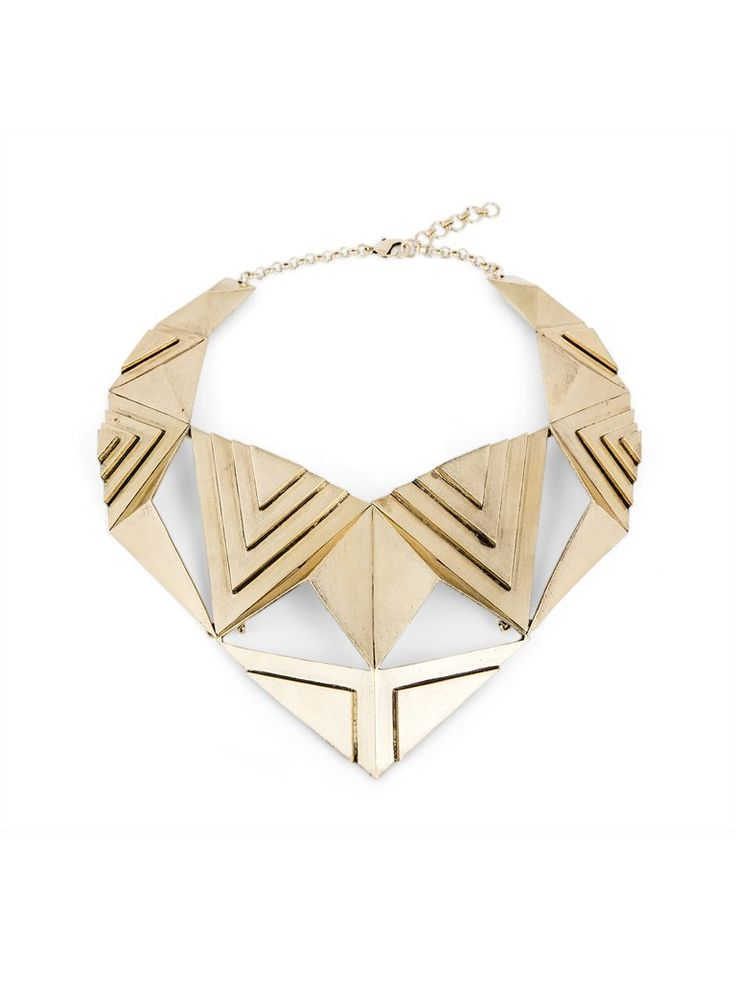 Solid Brass Geometric Statement Necklace