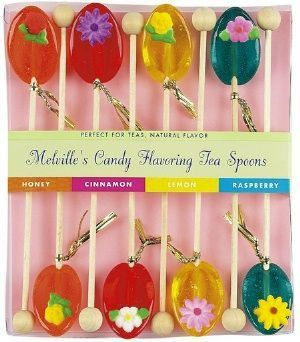 8 Pack of Flowers Honey Tea Spoons in Assorted Flavors - Flavored Tea Spoons - Roses And Teacups
