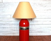Table Lamp: Reclaimed Upcycled Fire Extinguisher with original aluminum band with instructionsReclaimed Furniture, Table Lamps, Aluminum Band, Upcycling Fire, Reclaimed Lights, Fire Extinguisher, Reclaimed Upcycling, Tables Lamps, Originals Aluminum