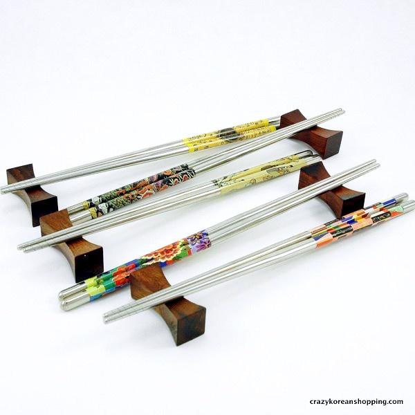 Stainless Steel Chopsticks Set Wooden Flatware Chopsticks