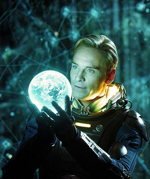 Michael Fassbender in Prometheus. Just finished movie. Horror not my pick BUT this was bloody brilliant!