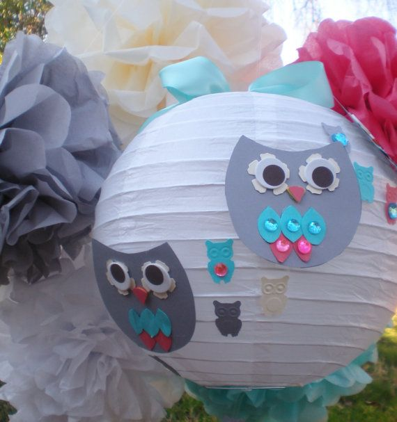 Owl paper lanterns and pom poms, coral aqua gray, CUSTOM COLORS available, gender neutral on Etsy, $33.50