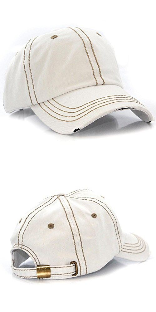 Plain Solid Color Thick Thread Vintage Distressed Baseball Cap Hat White  652b0104cc85