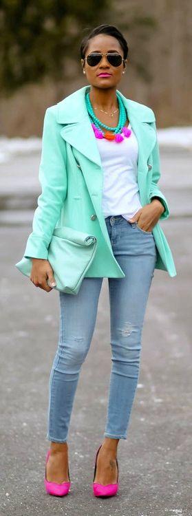 Bright mint jacket + white tee + distressed skinnies + neon pink pumps