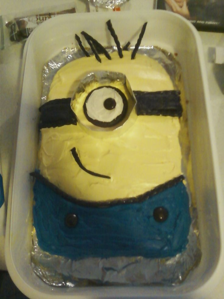 Easy Minion Cake Images : Easy Minion Cake! 9x13 cake, round top edges, mold foil ...